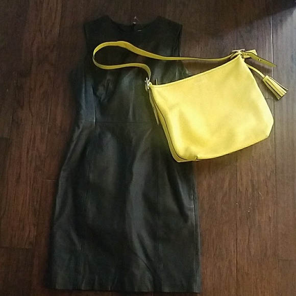 Newport News Dresses & Skirts - Little Black Leather Dress